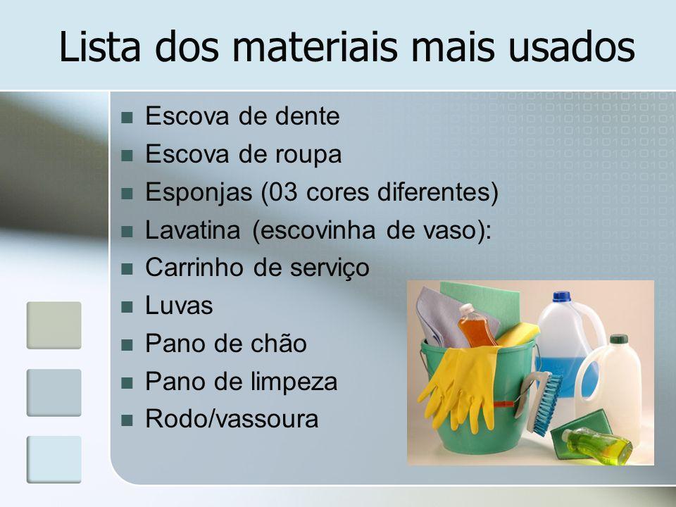 Lista dos materiais mais usados Escova de dente Escova de roupa Esponjas (03 cores diferentes) Lavatina (escovinha de vaso): Carrinho de serviço Luvas