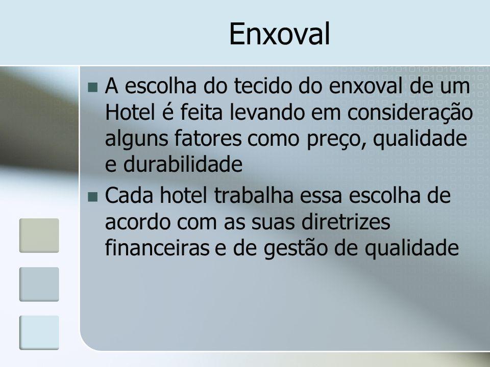 Enxoval A escolha do tecido do enxoval de um Hotel é feita levando em consideração alguns fatores como preço, qualidade e durabilidade Cada hotel trab