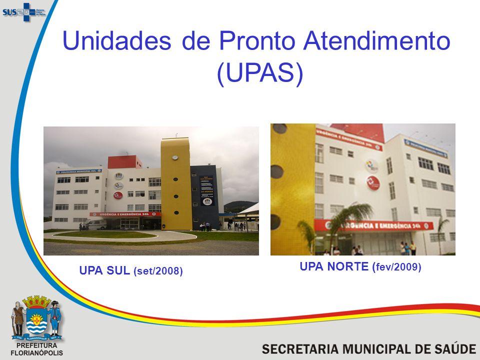 Unidades de Pronto Atendimento (UPAS) UPA SUL (set/2008) UPA NORTE ( fev/2009)