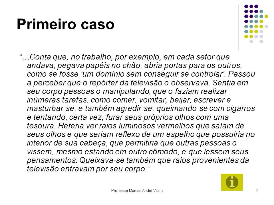 Professor Marcus André Vieira2 Primeiro caso …Conta que, no trabalho, por exemplo, em cada setor que andava, pegava papéis no chão, abria portas para