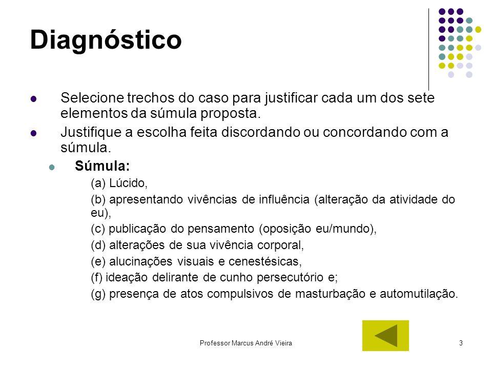 Professor Marcus André Vieira3 Diagnóstico Selecione trechos do caso para justificar cada um dos sete elementos da súmula proposta. Justifique a escol