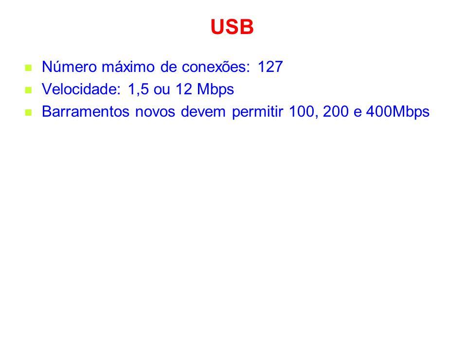 USB Número máximo de conexões: 127 Velocidade: 1,5 ou 12 Mbps Barramentos novos devem permitir 100, 200 e 400Mbps