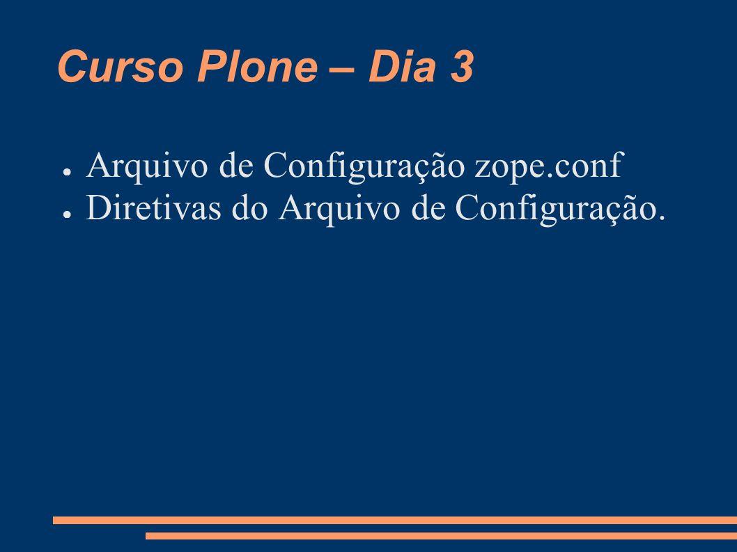 Curso Plone – Dia 3 Arquivo de Configuração zope.conf Diretivas do Arquivo de Configuração.