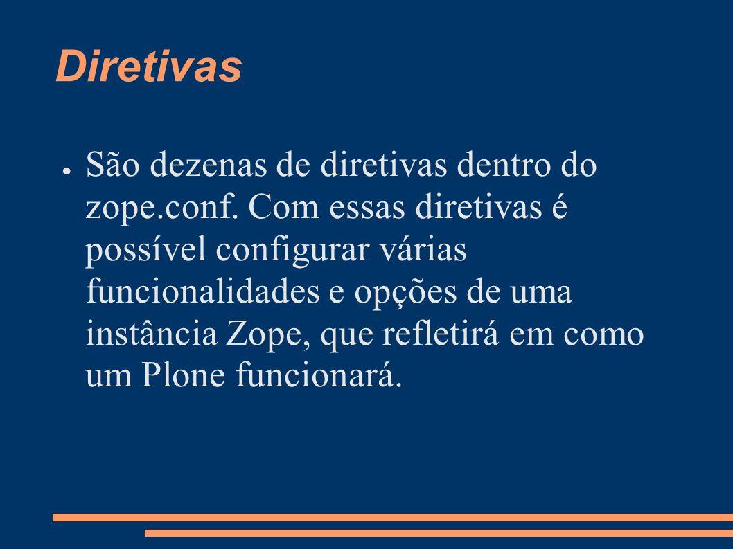 Diretivas São dezenas de diretivas dentro do zope.conf. Com essas diretivas é possível configurar várias funcionalidades e opções de uma instância Zop