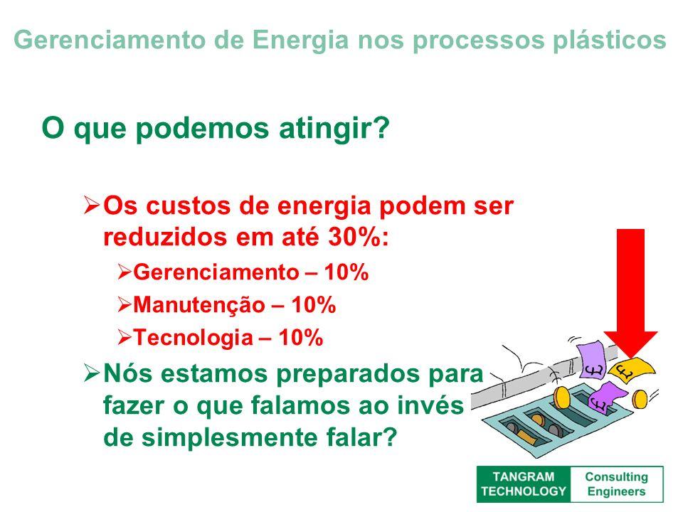 O que podemos atingir? Os custos de energia podem ser reduzidos em até 30%: Gerenciamento – 10% Manutenção – 10% Tecnologia – 10% Nós estamos preparad