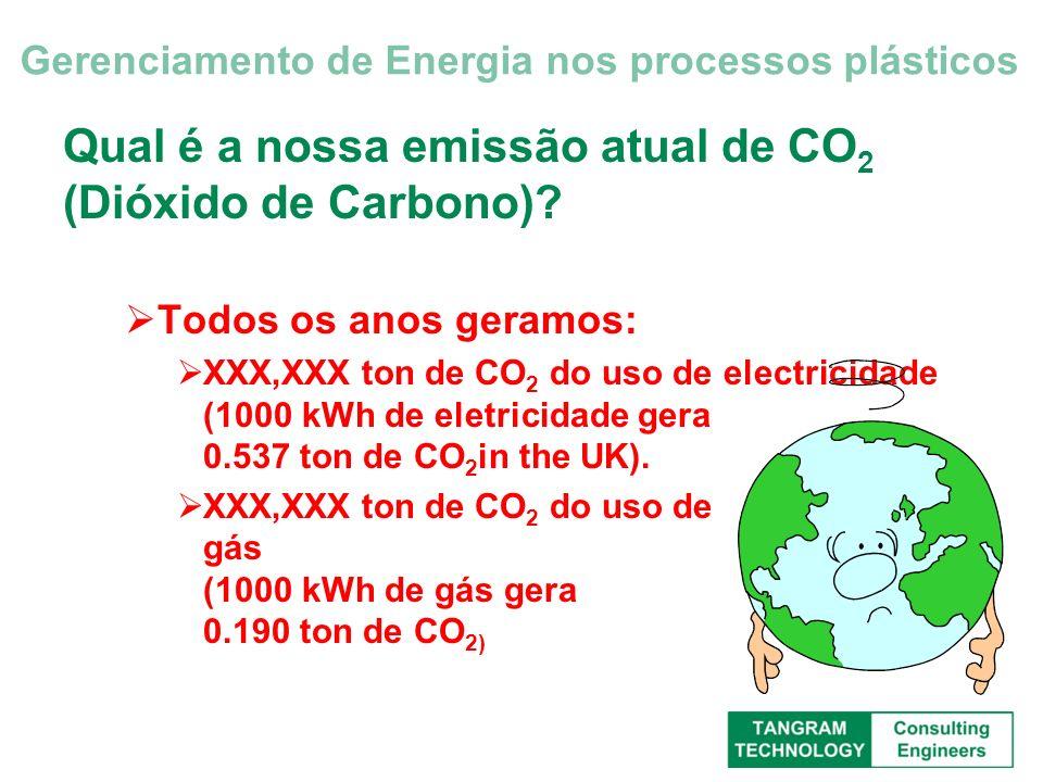 Qual é a nossa emissão atual de CO 2 (Dióxido de Carbono)? Todos os anos geramos: XXX,XXX ton de CO 2 do uso de electricidade (1000 kWh de eletricidad