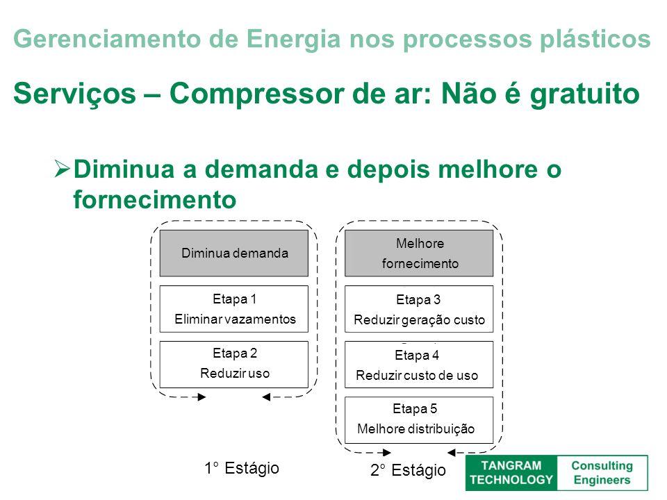 Serviços – Compressor de ar: Não é gratuito Diminua a demanda e depois melhore o fornecimento Gerenciamento de Energia nos processos plásticos Melhore