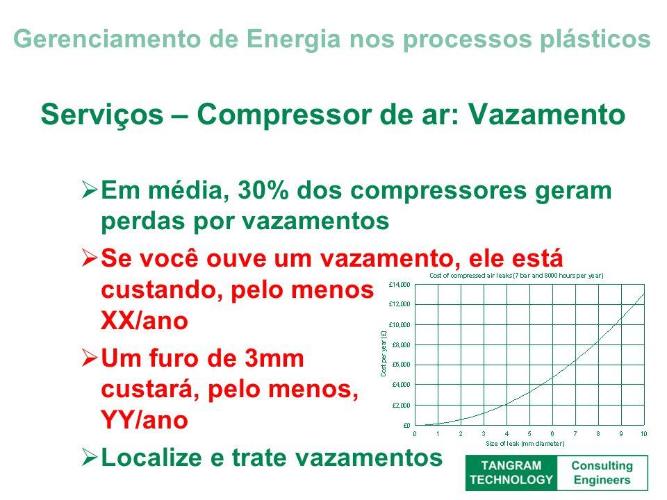 Serviços – Compressor de ar: Vazamento Em média, 30% dos compressores geram perdas por vazamentos Se você ouve um vazamento, ele está custando, pelo m
