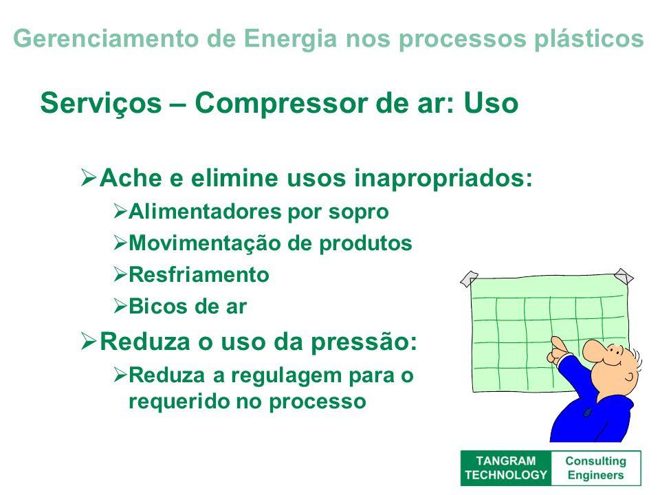 Serviços – Compressor de ar: Uso Ache e elimine usos inapropriados: Alimentadores por sopro Movimentação de produtos Resfriamento Bicos de ar Reduza o