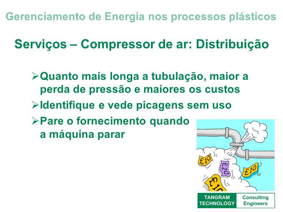 Serviços – Compressor de ar: Distribuição Quanto mais longa a tubulação, maior a perda de pressão e maiores os custos Identifique e vede picagens sem
