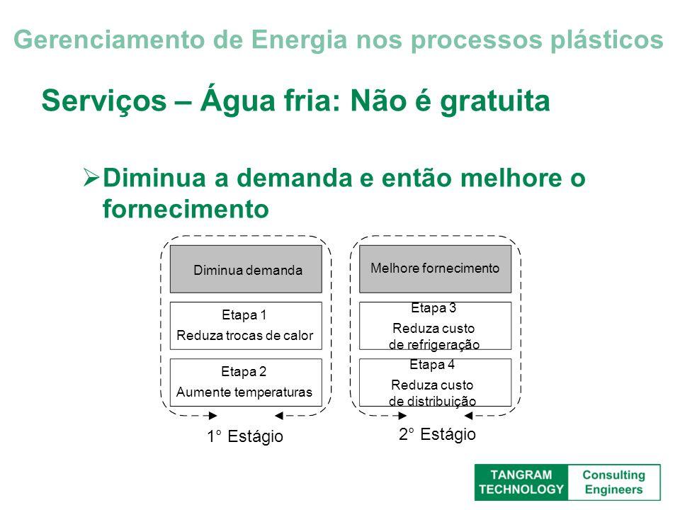 Serviços – Água fria: Não é gratuita Diminua a demanda e então melhore o fornecimento Gerenciamento de Energia nos processos plásticos Diminua demanda