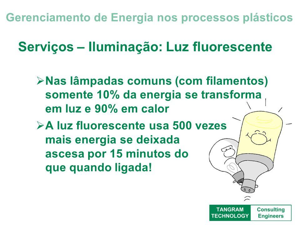 Serviços – Iluminação: Luz fluorescente Nas lâmpadas comuns (com filamentos) somente 10% da energia se transforma em luz e 90% em calor A luz fluoresc