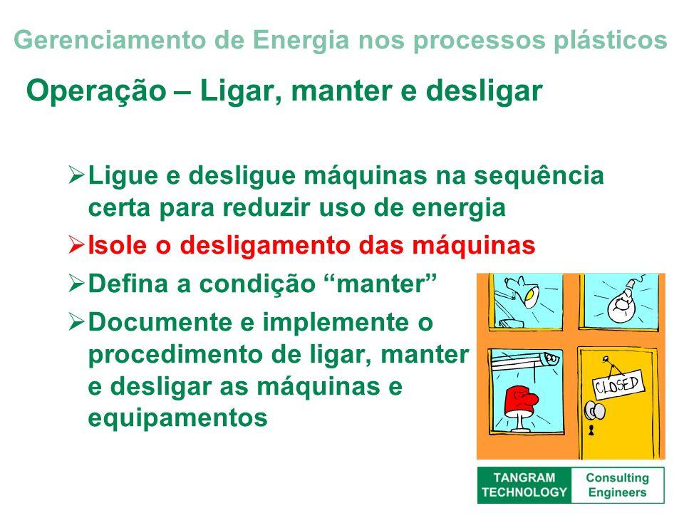 Operação – Ligar, manter e desligar Ligue e desligue máquinas na sequência certa para reduzir uso de energia Isole o desligamento das máquinas Defina