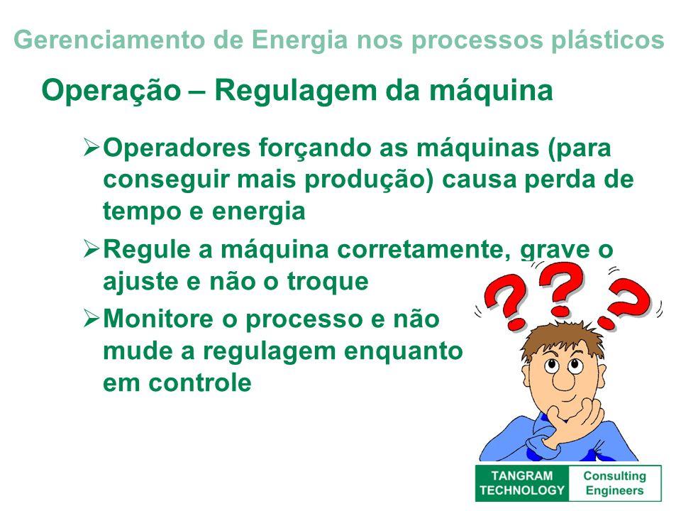 Operação – Regulagem da máquina Operadores forçando as máquinas (para conseguir mais produção) causa perda de tempo e energia Regule a máquina correta
