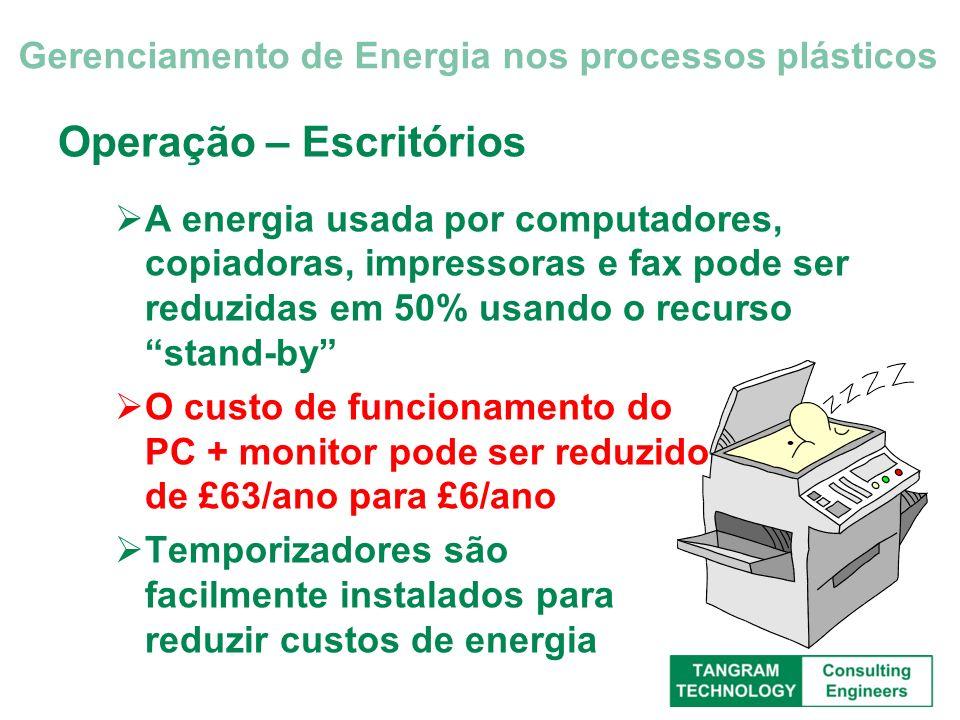 Operação – Escritórios A energia usada por computadores, copiadoras, impressoras e fax pode ser reduzidas em 50% usando o recurso stand-by O custo de