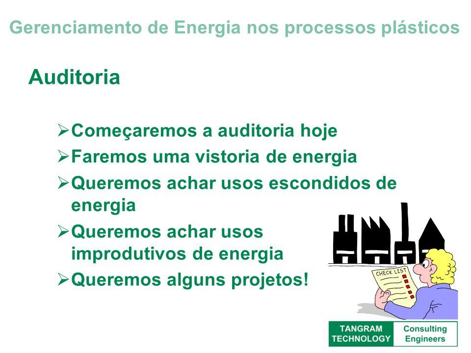 Auditoria Começaremos a auditoria hoje Faremos uma vistoria de energia Queremos achar usos escondidos de energia Queremos achar usos improdutivos de e