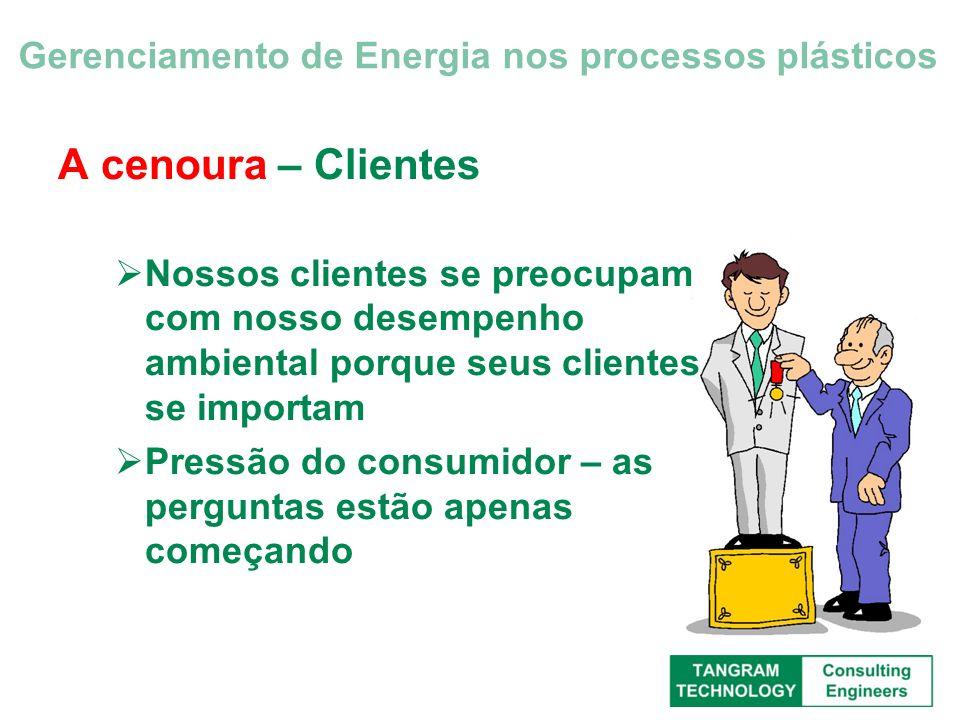 A cenoura – Clientes Nossos clientes se preocupam com nosso desempenho ambiental porque seus clientes se importam Pressão do consumidor – as perguntas