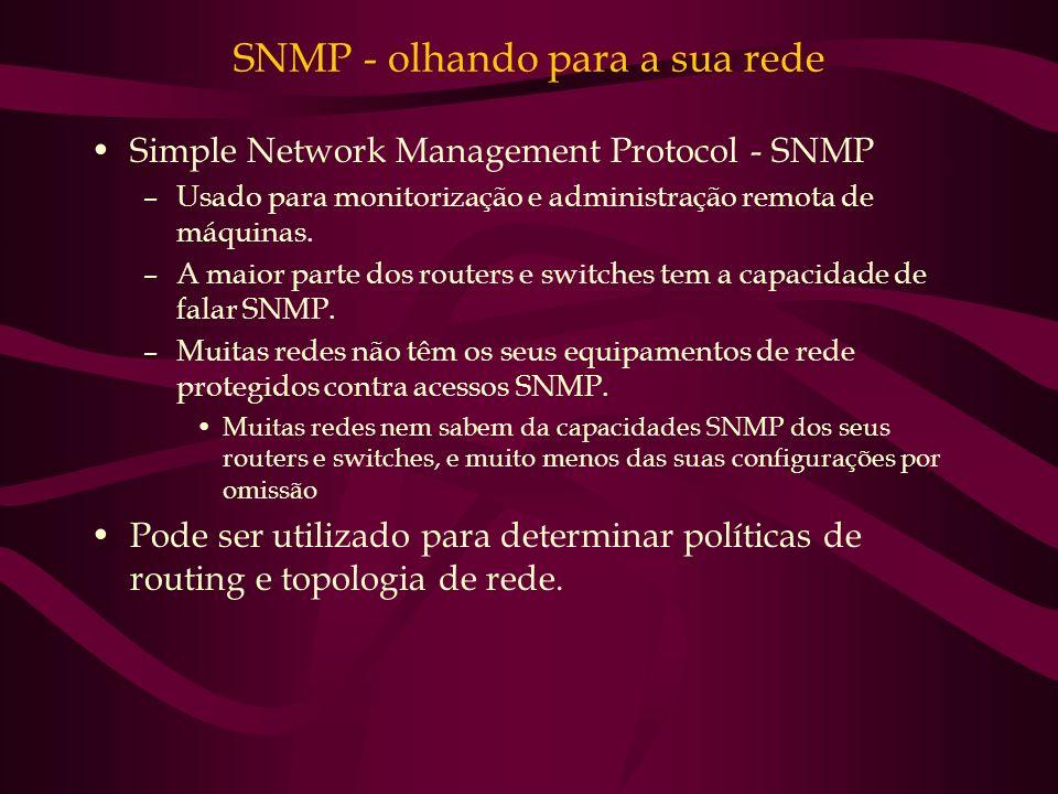 SNMP - olhando para a sua rede Simple Network Management Protocol - SNMP –Usado para monitorização e administração remota de máquinas. –A maior parte