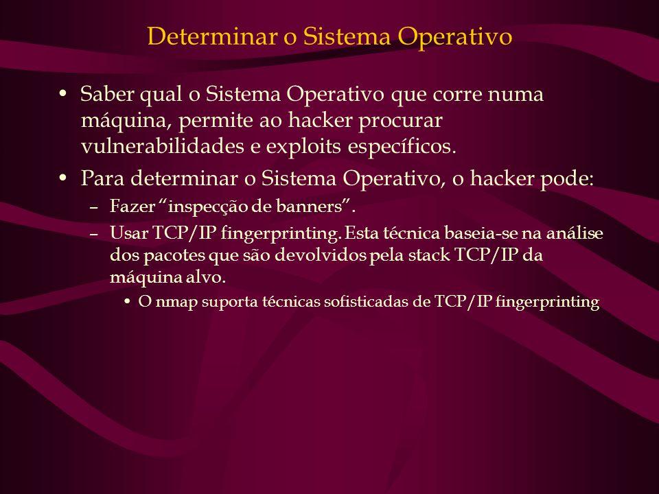 Determinar o Sistema Operativo Saber qual o Sistema Operativo que corre numa máquina, permite ao hacker procurar vulnerabilidades e exploits específic