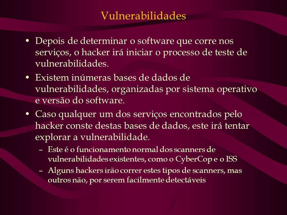 Vulnerabilidades Depois de determinar o software que corre nos serviços, o hacker irá iniciar o processo de teste de vulnerabilidades. Existem inúmera