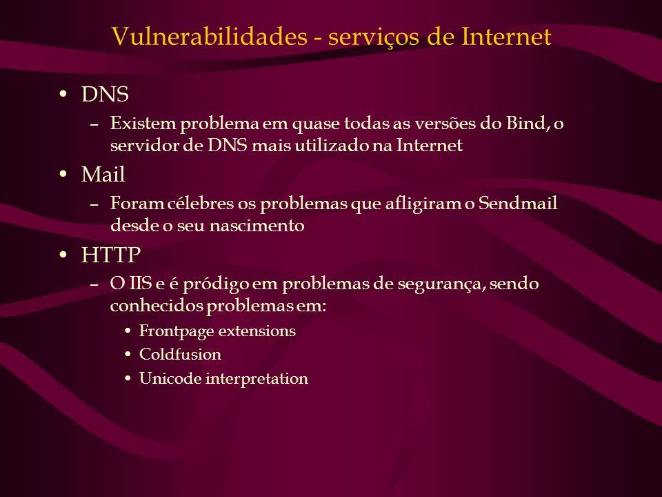 Vulnerabilidades - serviços de Internet DNS –Existem problema em quase todas as versões do Bind, o servidor de DNS mais utilizado na Internet Mail –Fo