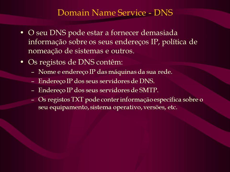 Domain Name Service - DNS O seu DNS pode estar a fornecer demasiada informação sobre os seus endereços IP, política de nomeação de sistemas e outros.