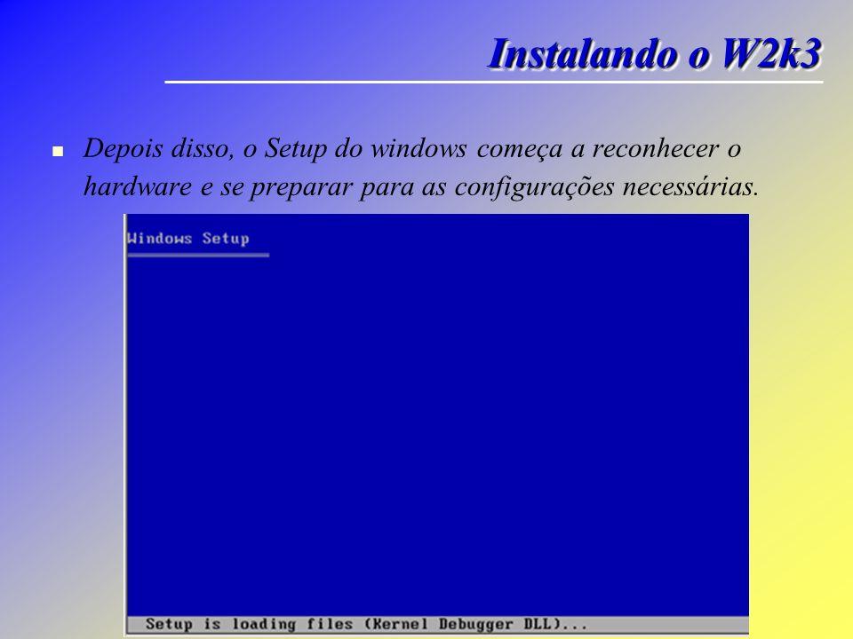 Depois disso, o Setup do windows começa a reconhecer o hardware e se preparar para as configurações necessárias. Instalando o W2k3