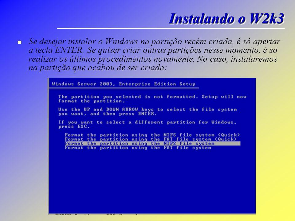 Se desejar instalar o Windows na partição recém criada, é só apertar a tecla ENTER. Se quiser criar outras partições nesse momento, é só realizar os ú