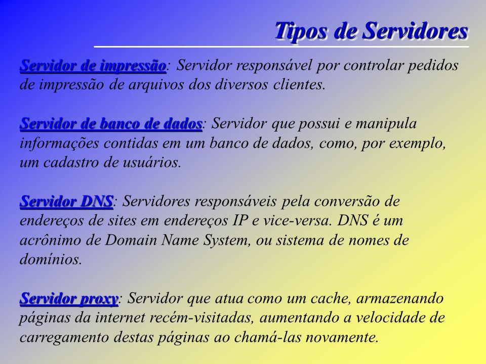 Tipos de Servidores Servidor de impressão Servidor de banco de dados Servidor DNS Servidor proxy Servidor de impressão: Servidor responsável por contr