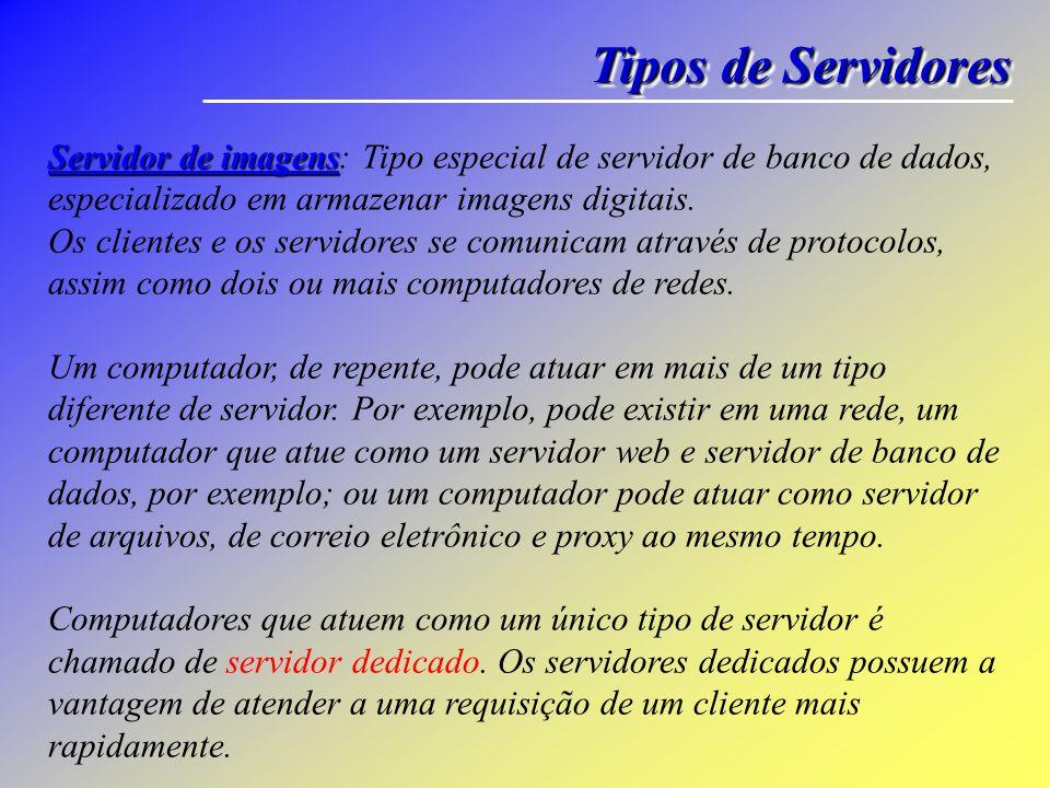 Tipos de Servidores Servidor de imagens Servidor de imagens: Tipo especial de servidor de banco de dados, especializado em armazenar imagens digitais.