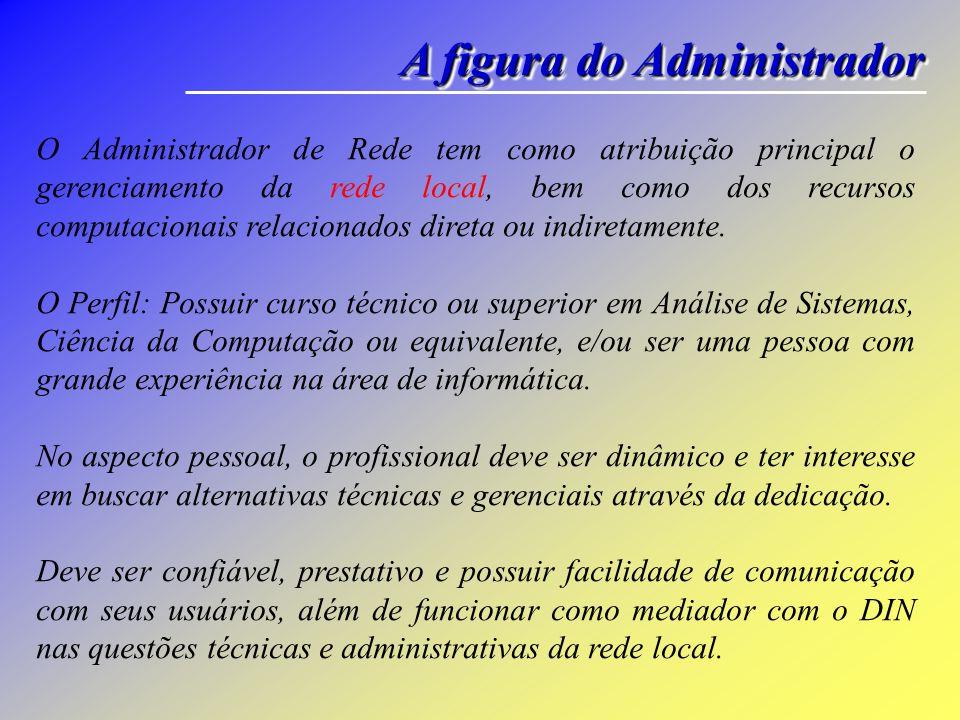 A figura do Administrador O Administrador de Rede tem como atribuição principal o gerenciamento da rede local, bem como dos recursos computacionais re