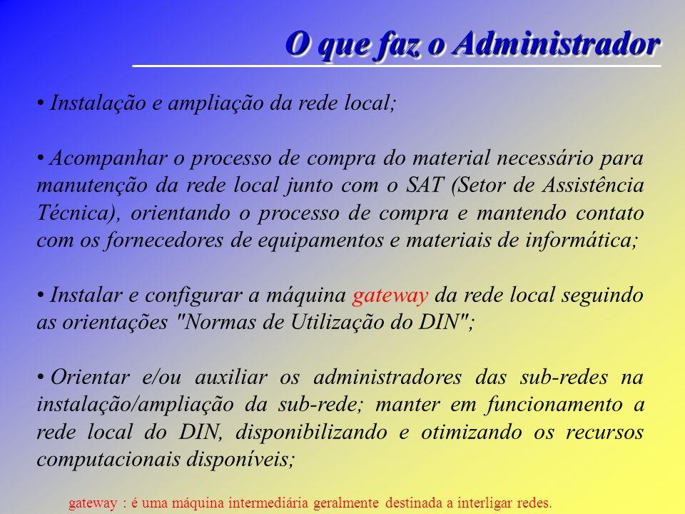 O que faz o Administrador Instalação e ampliação da rede local; Acompanhar o processo de compra do material necessário para manutenção da rede local j