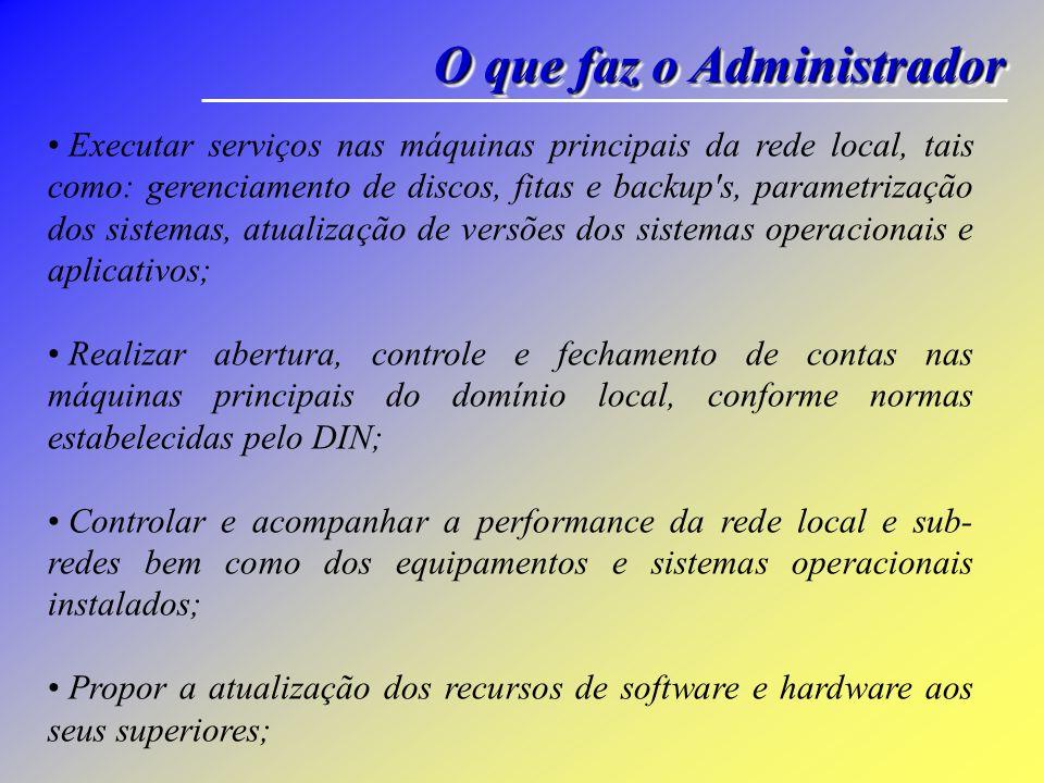O que faz o Administrador Executar serviços nas máquinas principais da rede local, tais como: gerenciamento de discos, fitas e backup's, parametrizaçã