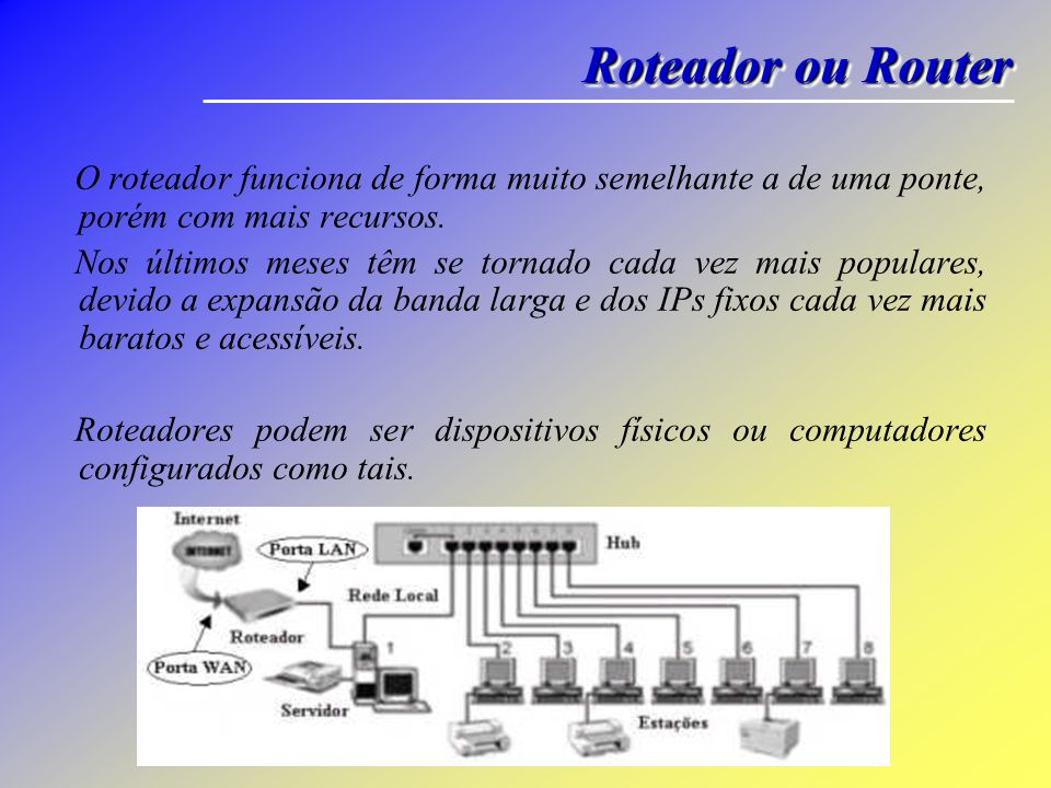 Tipos de Servidores Em uma rede heterogênea (com diversos hardwares, softwares) um cliente também pode ser um servidor e assim um outro servidor pode ser cliente do mesmo.