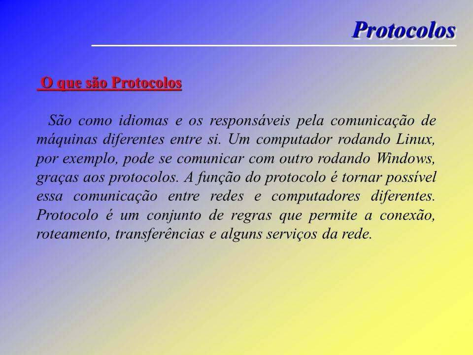 ProtocolosProtocolos O que são Protocolos O que são Protocolos São como idiomas e os responsáveis pela comunicação de máquinas diferentes entre si. Um