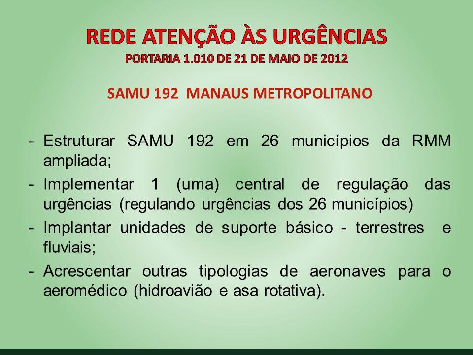 SAMU 192 MANAUS METROPOLITANO -Estruturar SAMU 192 em 26 municípios da RMM ampliada; -Implementar 1 (uma) central de regulação das urgências (reguland