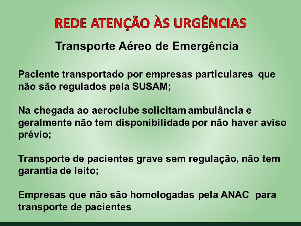 Transporte Aéreo de Emergência Paciente transportado por empresas particulares que não são regulados pela SUSAM; Na chegada ao aeroclube solicitam amb