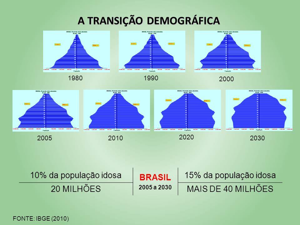 FONTE: IBGE (2010) A TRANSIÇÃO DEMOGRÁFICA 10% da população idosa BRASIL 2005 a 2030 15% da população idosa 20 MILHÕESMAIS DE 40 MILHÕES 19801990 2000