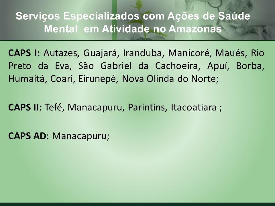 CAPS I: Autazes, Guajará, Iranduba, Manicoré, Maués, Rio Preto da Eva, São Gabriel da Cachoeira, Apuí, Borba, Humaitá, Coari, Eirunepé, Nova Olinda do