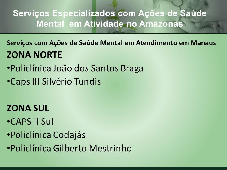 Serviços com Ações de Saúde Mental em Atendimento em Manaus ZONA NORTE Policlínica João dos Santos Braga Caps III Silvério Tundis ZONA SUL CAPS II Sul