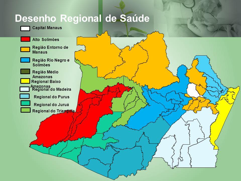Desenho Regional de Saúde Capital Manaus Alto Solimões Região Entorno de Manaus Região Médio Amazonas Região Rio Negro e Solimões Regional Baixo Amazo