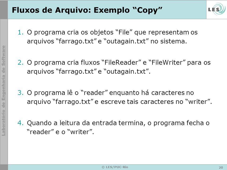 20 © LES/PUC-Rio Fluxos de Arquivo: Exemplo Copy 1.O programa cria os objetos File que representam os arquivos farrago.txt e outagain.txt no sistema.