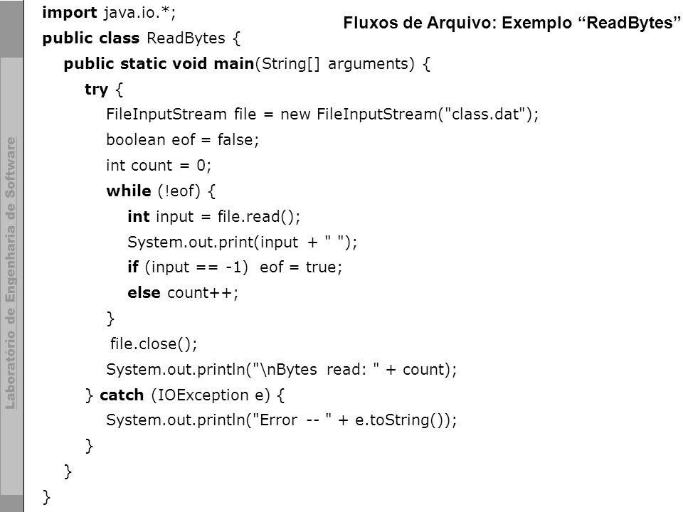 23 © LES/PUC-Rio import java.io.*; public class ReadBytes { public static void main(String[] arguments) { try { FileInputStream file = new FileInputSt