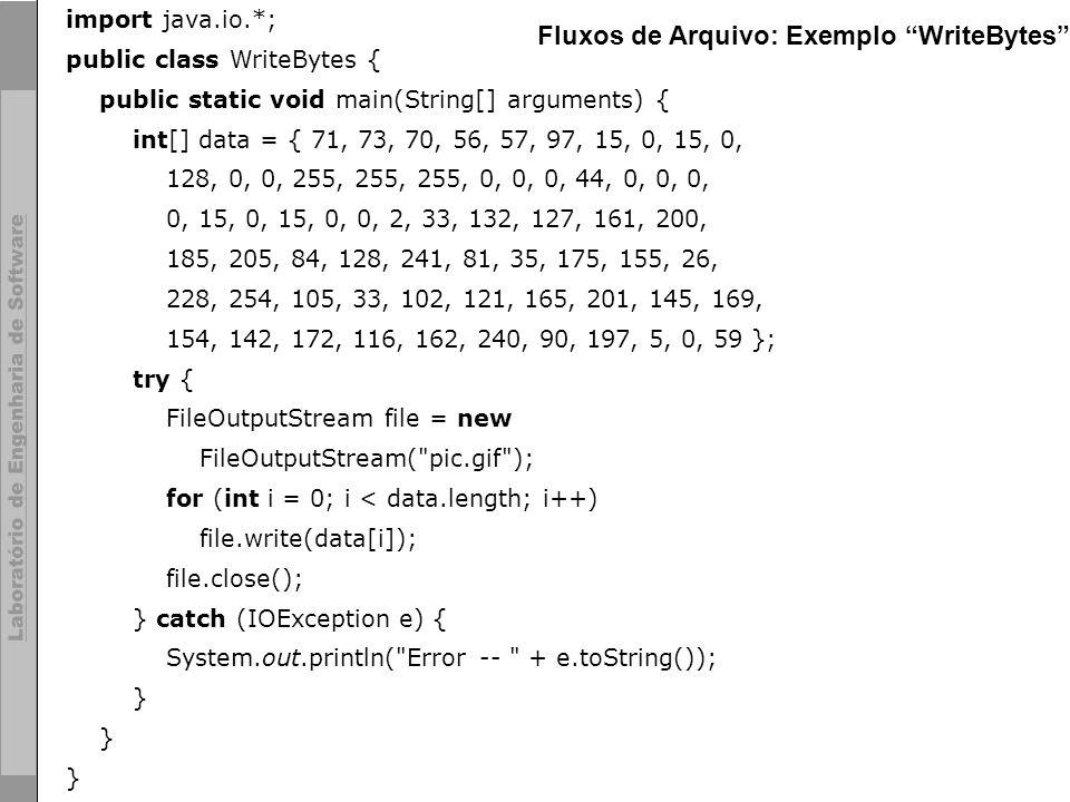 25 © LES/PUC-Rio import java.io.*; public class WriteBytes { public static void main(String[] arguments) { int[] data = { 71, 73, 70, 56, 57, 97, 15,