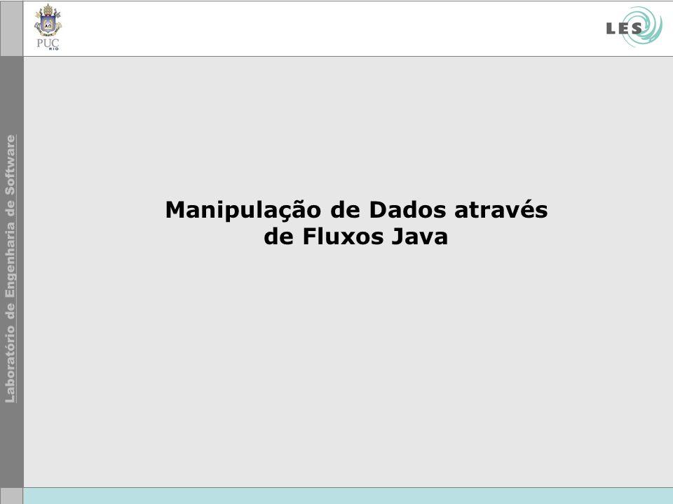 5 © LES/PUC-Rio Fluxos de Java: Introdução Muitos programas Java interagem com algum repositório de dados.