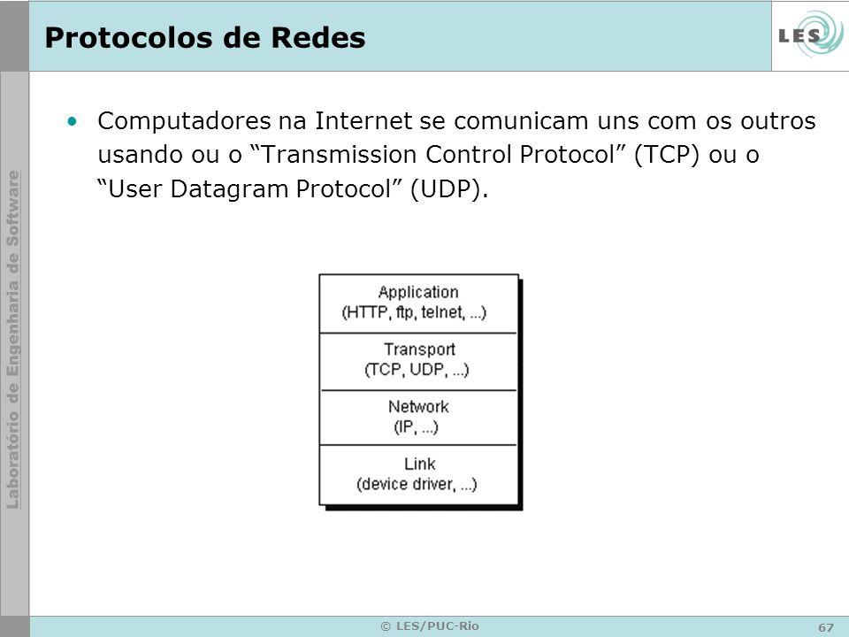 67 © LES/PUC-Rio Protocolos de Redes Computadores na Internet se comunicam uns com os outros usando ou o Transmission Control Protocol (TCP) ou o User