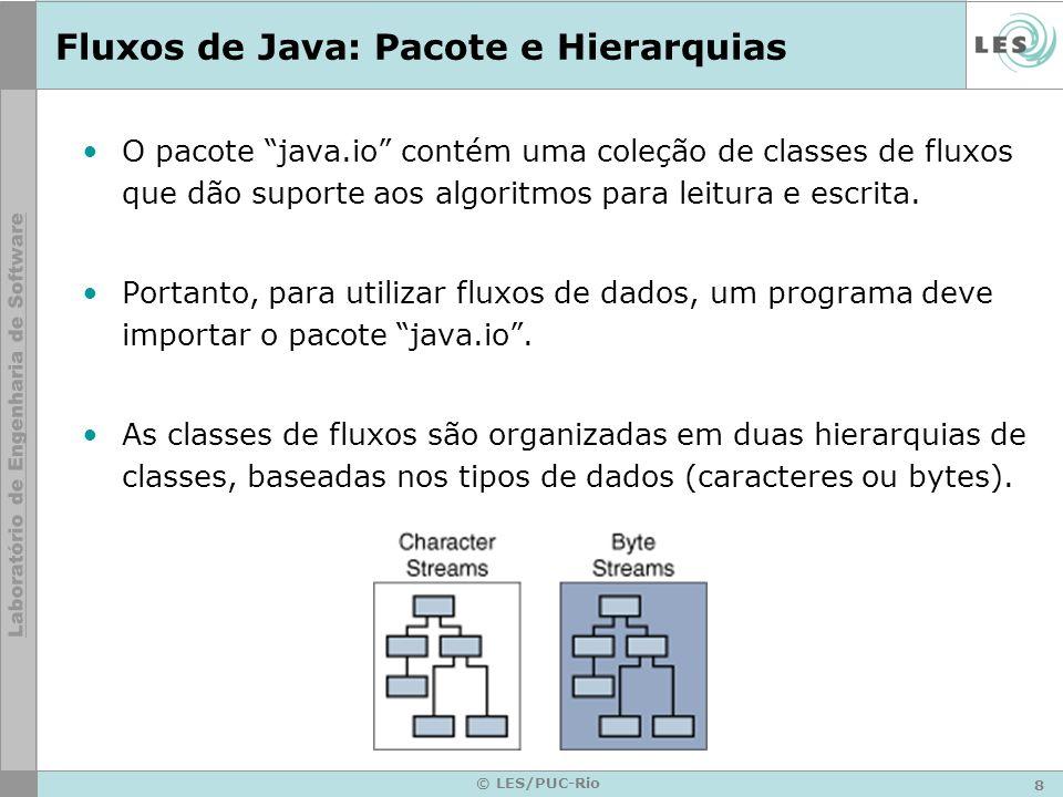 8 © LES/PUC-Rio Fluxos de Java: Pacote e Hierarquias O pacote java.io contém uma coleção de classes de fluxos que dão suporte aos algoritmos para leit