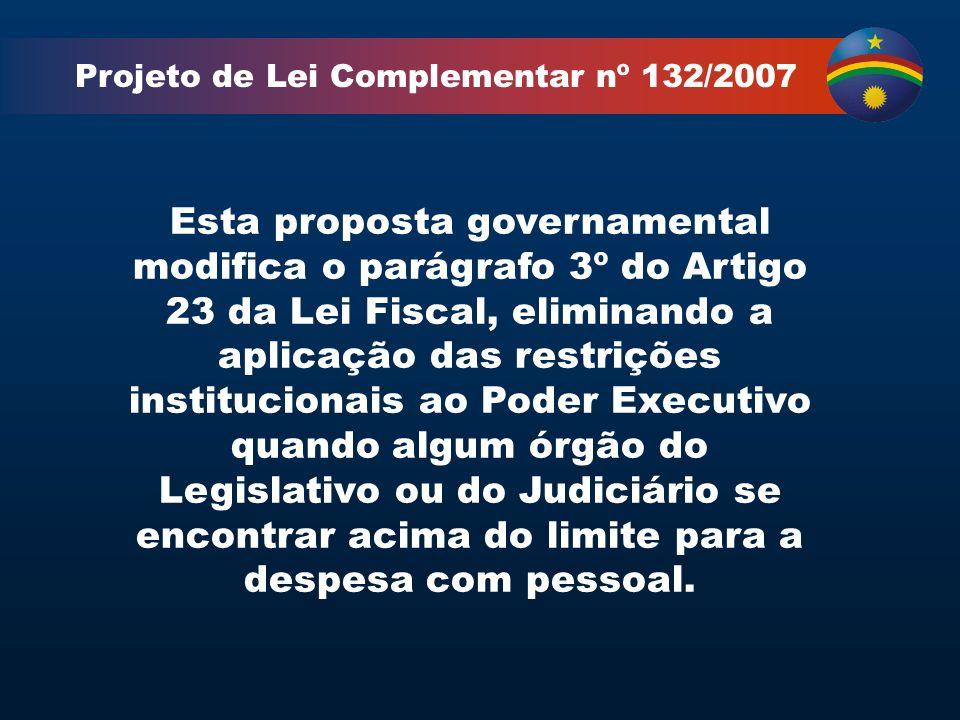 Projeto de Lei Complementar nº 132/2007 Esta proposta governamental modifica o parágrafo 3º do Artigo 23 da Lei Fiscal, eliminando a aplicação das restrições institucionais ao Poder Executivo quando algum órgão do Legislativo ou do Judiciário se encontrar acima do limite para a despesa com pessoal.