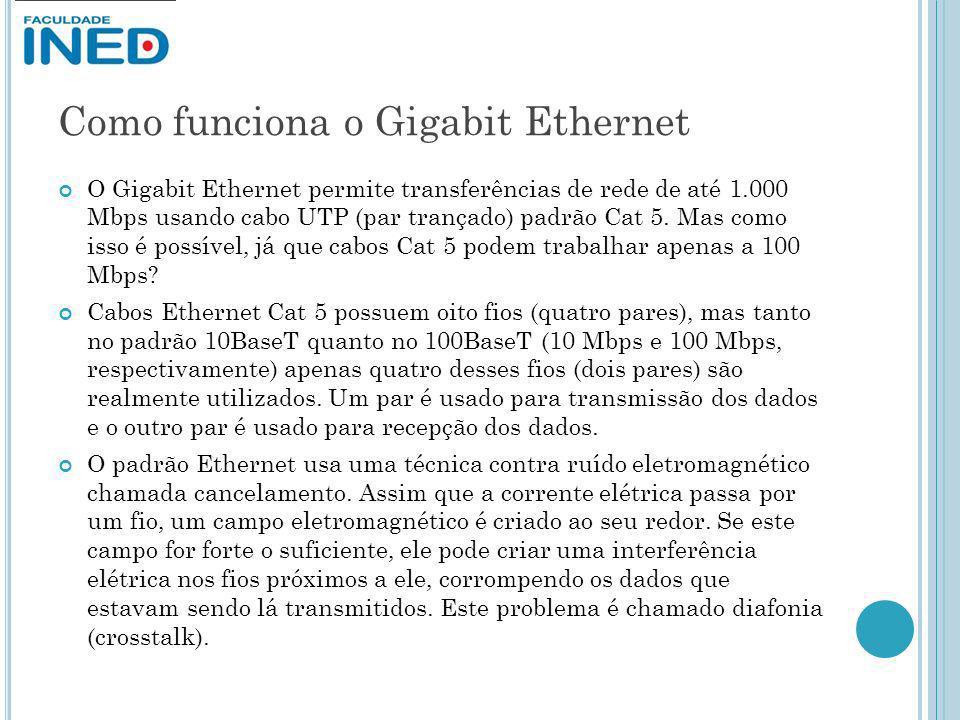 Como funciona o Gigabit Ethernet O Gigabit Ethernet permite transferências de rede de até 1.000 Mbps usando cabo UTP (par trançado) padrão Cat 5. Mas
