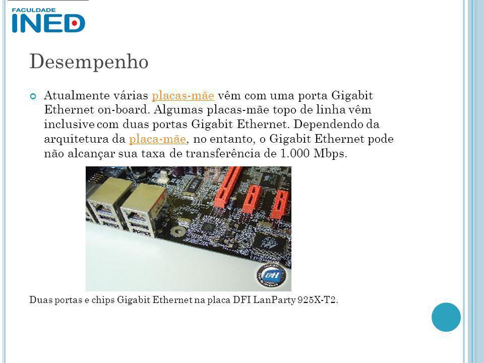 Desempenho Atualmente várias placas-mãe vêm com uma porta Gigabit Ethernet on-board. Algumas placas-mãe topo de linha vêm inclusive com duas portas Gi